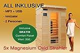 Ivar-2 LUXUS 2 Pers. Sauna Infrarotkabine & Infrarotsauna/Infrarot Wärmekabine + MP3 CD Radio + Ionizer + LED Lampen + Leselampe ALL IN + 1750 Watt